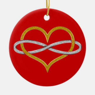 Heart Infinity Gold Silver Double-Sided Ceramic Round Christmas Ornament