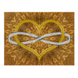 Heart Infinity Gold Silver Postcard