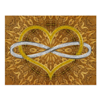 Heart Infinity Gold Silver Post Cards