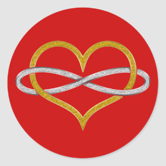 Heart Infinity Gold Silver Stickers