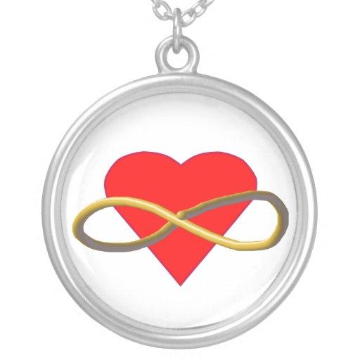 Heart Infinity Round Pendant Necklace
