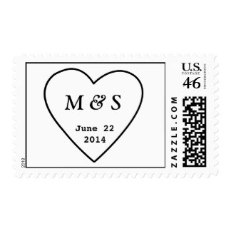 Heart Initials Wedding Save The Date Postage