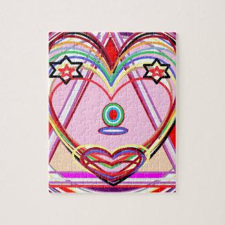 Heart inside a Triangle - Love,Kiss, Stars Jigsaw Puzzle