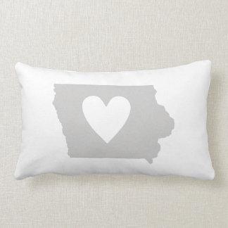 Heart Iowa state silhouette Throw Pillows
