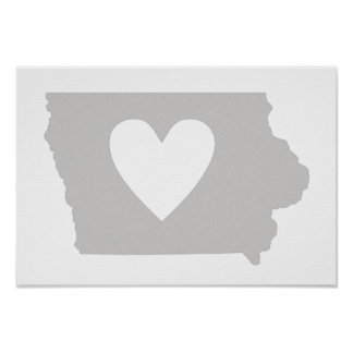 Heart Iowa state silhouette Posters