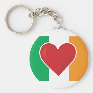 Heart Irish Flag Basic Round Button Keychain