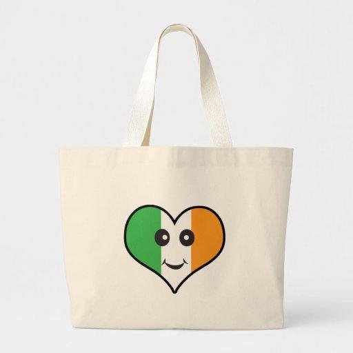 heart irish smiley jumbo tote bag