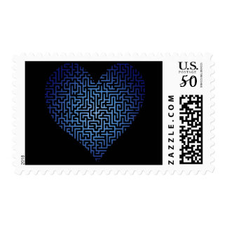 Heart is a Maze Blue Postage