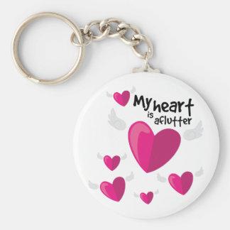 Heart is Aflutter Basic Round Button Keychain