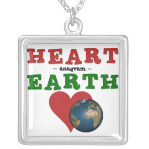 Heart is anagram for Earth Silver Plated Necklace