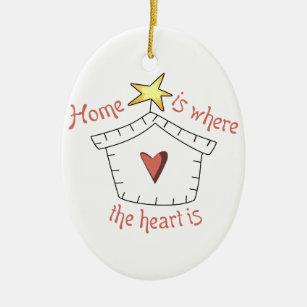 Heart Is Applique Ceramic Ornament