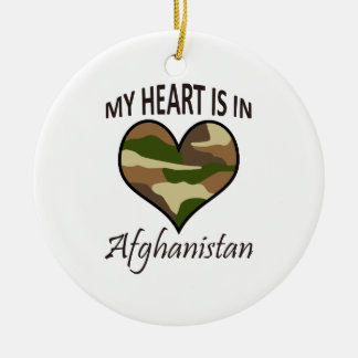 HEART IS IN AFGHANISTAN Double-Sided CERAMIC ROUND CHRISTMAS ORNAMENT