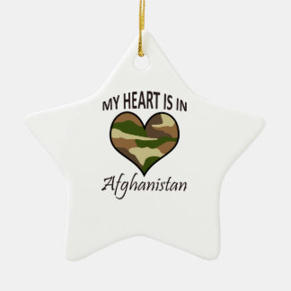 HEART IS IN AFGHANISTAN Double-Sided STAR CERAMIC CHRISTMAS ORNAMENT