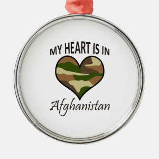 HEART IS IN AFGHANISTAN ROUND METAL CHRISTMAS ORNAMENT