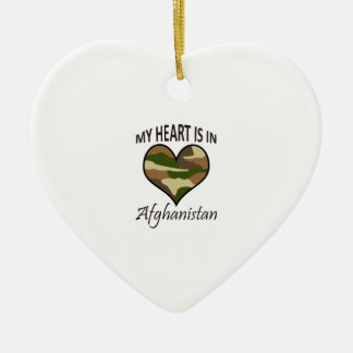 HEART IS IN AFGHANISTAN Double-Sided HEART CERAMIC CHRISTMAS ORNAMENT