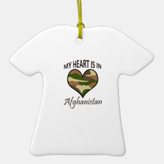HEART IS IN AFGHANISTAN Double-Sided T-Shirt CERAMIC CHRISTMAS ORNAMENT
