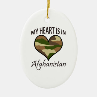 HEART IS IN AFGHANISTAN Double-Sided OVAL CERAMIC CHRISTMAS ORNAMENT