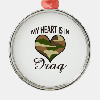 HEART IS IN IRAQ ROUND METAL CHRISTMAS ORNAMENT