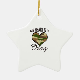 HEART IS IN IRAQ Double-Sided STAR CERAMIC CHRISTMAS ORNAMENT