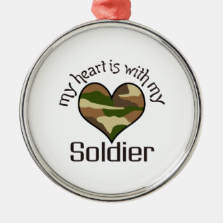 HEART IS WITH MY SOLDIER ROUND METAL CHRISTMAS ORNAMENT