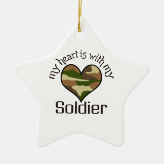 HEART IS WITH MY SOLDIER Double-Sided STAR CERAMIC CHRISTMAS ORNAMENT