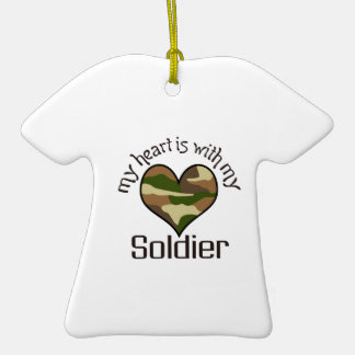 HEART IS WITH MY SOLDIER Double-Sided T-Shirt CERAMIC CHRISTMAS ORNAMENT