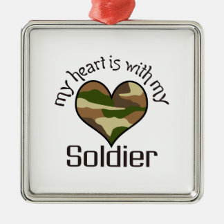 HEART IS WITH MY SOLDIER SQUARE METAL CHRISTMAS ORNAMENT