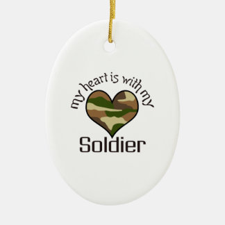 HEART IS WITH MY SOLDIER Double-Sided OVAL CERAMIC CHRISTMAS ORNAMENT