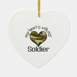 HEART IS WITH MY SOLDIER Double-Sided HEART CERAMIC CHRISTMAS ORNAMENT