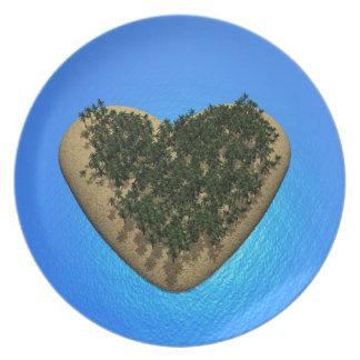 Heart island - 3D render Dinner Plate
