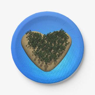 Heart island - 3D render Paper Plate
