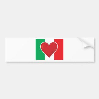 Heart Italy Flag Car Bumper Sticker
