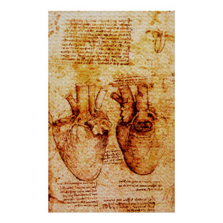 Heart,Its Blood Vessels,Leonardo Da Vinci Brown Poster