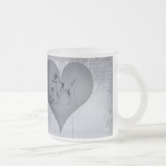 Heart Jack Russel Frosted Glass Coffee Mug