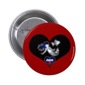 Heart Japan Mermaid Pinback Button