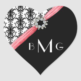 Heart Jewel Vintage Buckle Black White Damask Heart Sticker