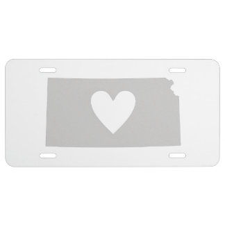 Heart Kansas state silhouette License Plate