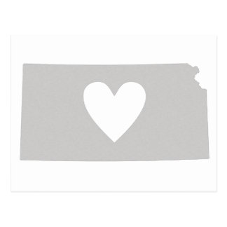 Heart Kansas state silhouette Postcard