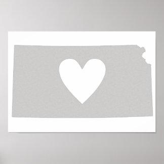 Heart Kansas state silhouette Poster