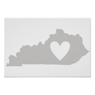 Heart Kentucky state silhouette Poster