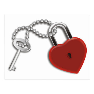 Heart Key And Lock Post Cards