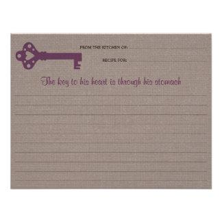 Heart Key Recipe Card Custom Announcements