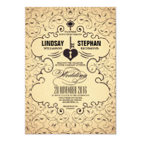 Heart Key Vintage Wedding Invitation