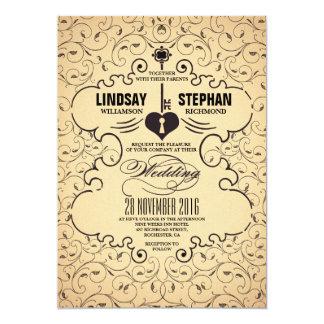 Heart Key Vintage Wedding Invitation
