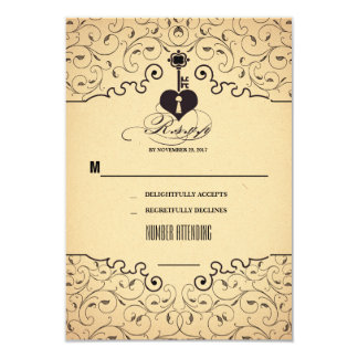 Heart Key Vintage Wedding RSVP cards