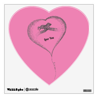 Heart kiss love you wall decals