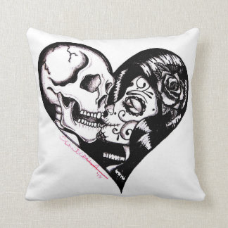 """""""Heart Kiss"""" tattoo art pillow by Skinderella"""