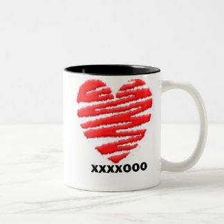 Heart kisses & hugs - Customized Two-Tone Coffee Mug