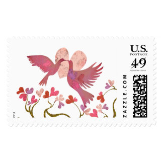Heart & kissing love birds wedding stamp