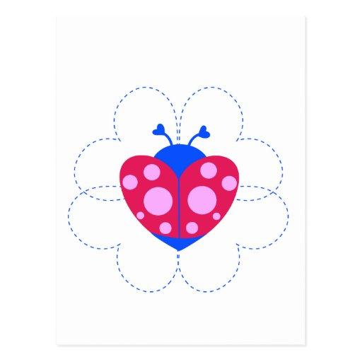heart ladybug sets.ai postcards